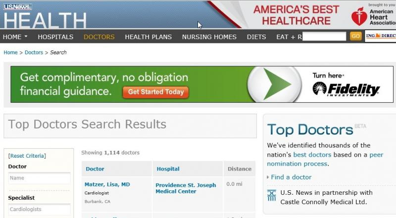 US NEWS AND REPORTS TOP CARDIOLOGIST LISA MATZER MD